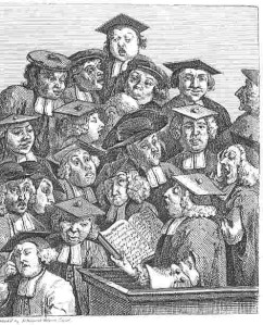 "William Hogarth's 1736 engraving, ""Scholars at a Lecture"" from Wikipedia"