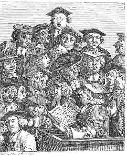 """William Hogarth's 1736 engraving, """"Scholars at a Lecture"""" from Wikipedia"""